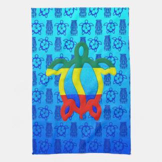 Azul Tiki de Rasta Honu Toalla De Cocina