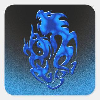 Azul torcido del dragón colcomanias cuadradases