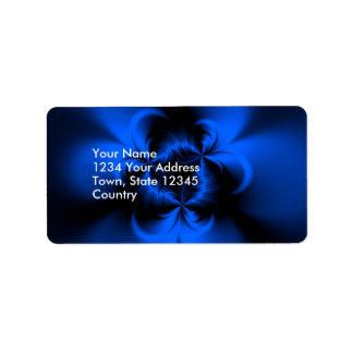 Azul torcido etiqueta de dirección
