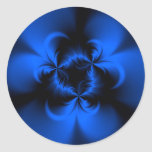 Azul torcido etiqueta redonda