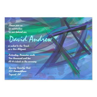 Azul TRANSPARENTE de la invitación de Mitzvah de