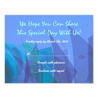 Azul transparente de la tarjeta de contestación de anuncios personalizados