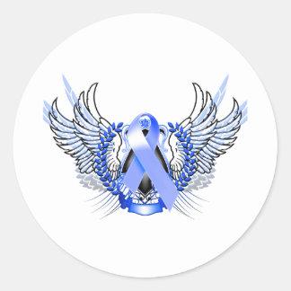 Azul tribal de la conciencia pegatina redonda