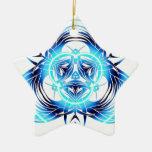 azul tribal deformado ornamentos de navidad