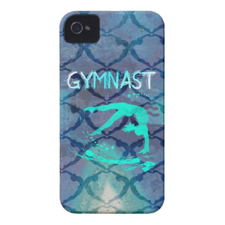 Azul tribal del modelo del gimnasta Case-Mate iPhone 4 protector