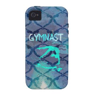 Azul tribal del modelo del gimnasta Case-Mate iPhone 4 carcasa