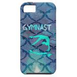 Azul tribal del modelo del gimnasta funda para iPhone 5 tough