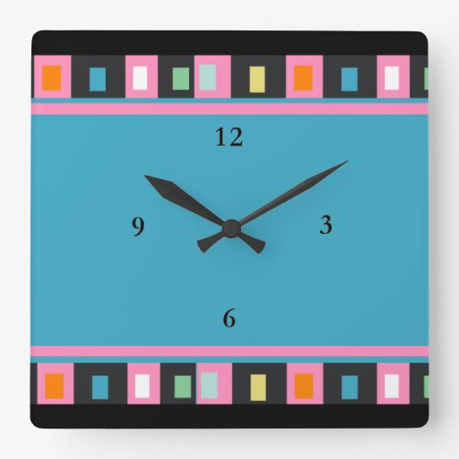 Azul tribal geométrico - cuadrados reloj