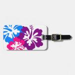 Azul tropical retro y púrpura del rosa de las flor etiqueta para maleta