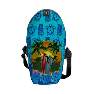 Azul tropical Tiki de la puesta del sol Bolsas Messenger