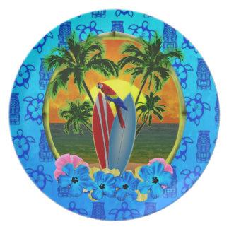 Azul tropical Tiki de la puesta del sol Plato Para Fiesta