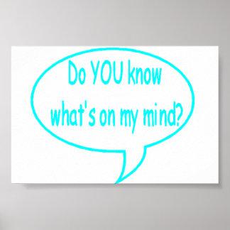 ¿Azul USTED sabe cuál está en mi mente? Burbuja de Póster
