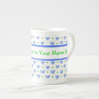 Azul/verde/blanco arquea la taza de China de las m