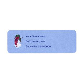Azul verde del gorra del muñeco de nieve etiquetas de remite