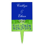 Azul, verde floral, selección del pastel de bodas  decoración de tarta