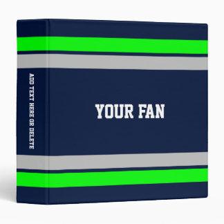 """Azul, verde y gris del fútbol personalizados carpeta 1 1/2"""""""