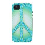 Azul-Verdes del símbolo de paz Vibe iPhone 4 Carcasas