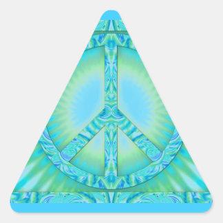 Azul-Verdes del símbolo de paz Calcomanías De Trianguloes Personalizadas