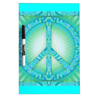 Azul-Verdes del símbolo de paz Pizarra