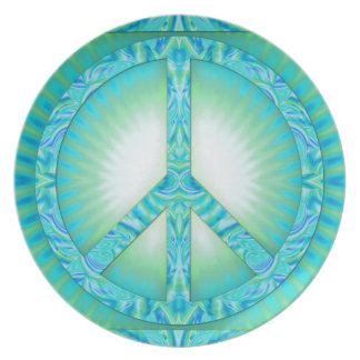 Azul-Verdes del símbolo de paz Plato De Comida