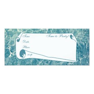 Azul veteado invitación 10,1 x 23,5 cm