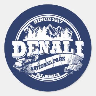 Azul viejo del círculo de Denali Etiqueta Redonda