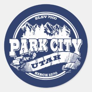 Azul viejo del círculo de Park City Pegatina Redonda