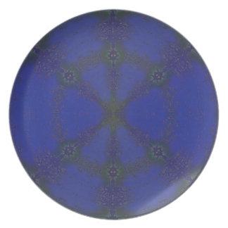 Azul viejo plato de cena
