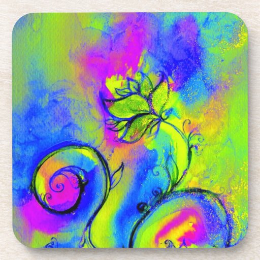 Azul violeta de las FLORES del amarillo CAPRICHOSO Posavasos