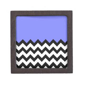 Azul-Violeta-En-Negro-y-Blanco-Zigzag-Modelo Cajas De Recuerdo De Calidad