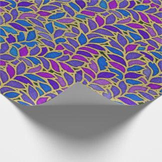Azul, violeta y oro de Floresta Papel De Regalo