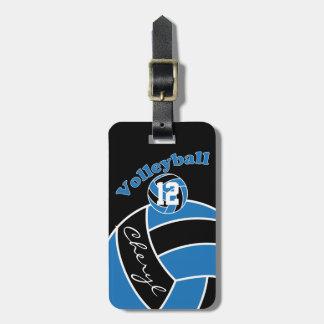 Azul, voleibol deportivo blanco y negro etiquetas para maletas