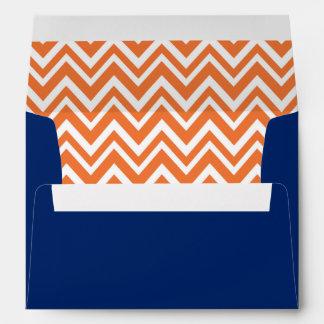 Azul withRoyal anaranjado del modelo de zigzag Sobre