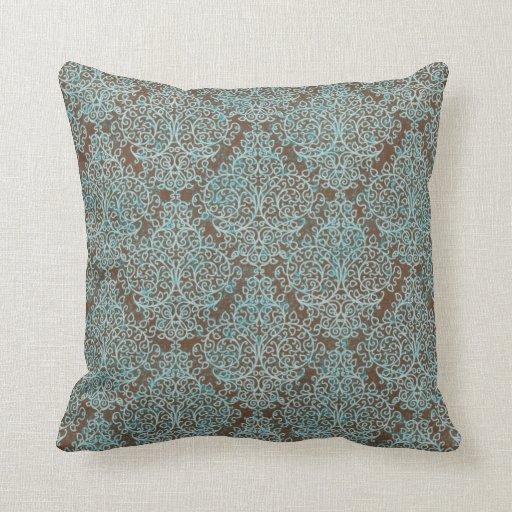 Azul y almohada de tiro decorativa del remolino de