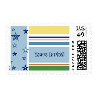 Azul y amarillo, raya y las estrellas que le sello postal