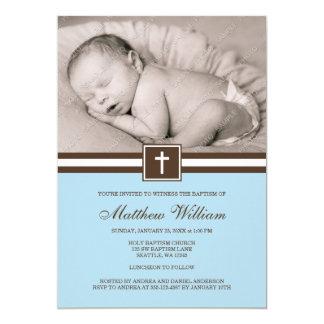 """Azul y bautismo cruzado de la foto del muchacho de invitación 5"""" x 7"""""""