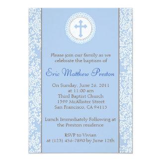 """Azul y bautismo de Brown/invitación del bautizo Invitación 5"""" X 7"""""""