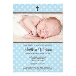 Azul y bautismo de la foto del muchacho de la cruz invitacion personal