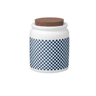 Azul y blanco a cuadros plato para caramelo