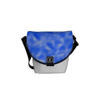 Azul y blanco abigarrados bolsa de mensajería