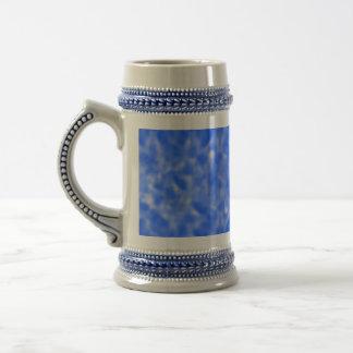 Azul y blanco abigarrados jarra de cerveza