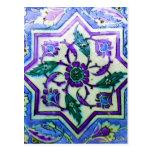 Azul y blanco con indirectas de la teja púrpura de tarjetas postales