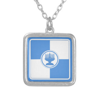Azul y blanco de Jánuca Menorah Colorblock Collar Personalizado