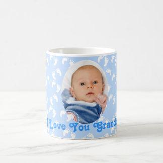 """Azul y blanco de la abuela de la foto """"te amo"""" taza clásica"""