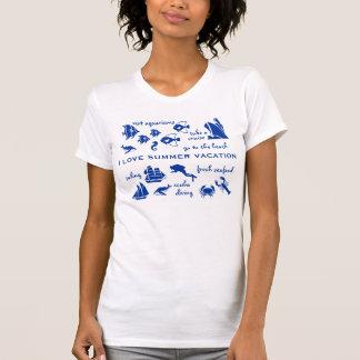 Azul y blanco de la diversión de las vacaciones de camisetas