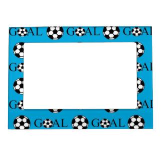 Azul y blanco de la meta del fútbol marcos magnéticos de fotos