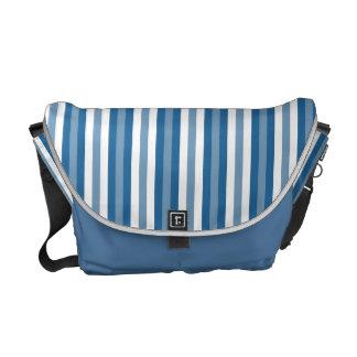 Azul y blanco del fondo de las rayas bolsa messenger