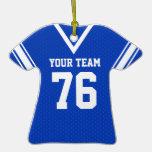 Azul y blanco del jersey del fútbol adornos
