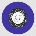 azul y blanco del sello de 20 - 1,5 sobres pegatina redonda