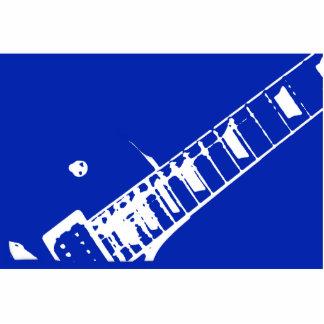 azul y blanco del sello del cuello de la guitarra esculturas fotográficas